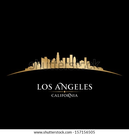 Los Angeles California city skyline silhouette. Vector illustration - stock vector