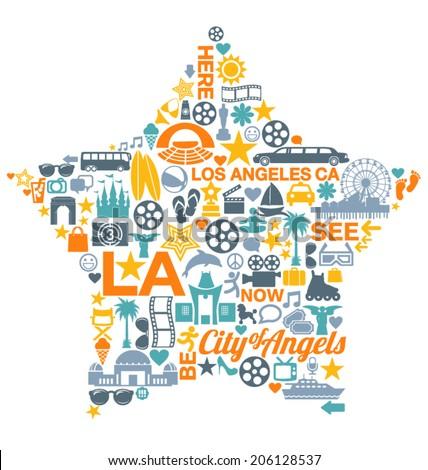 Los Angeles California Icons Symbols Landmarks Stock Vector 2018