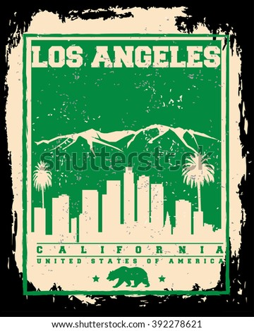 Los Angeles City concept. Logo. Label. T-shirt design. LA. Creative poster design. - stock vector
