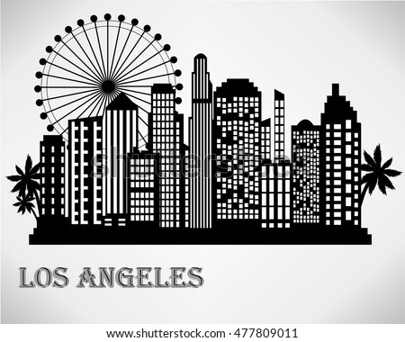 los angeles city skyline black and white vector illustration
