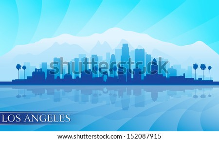 Los Angeles city skyline detailed silhouette. Vector illustration  - stock vector