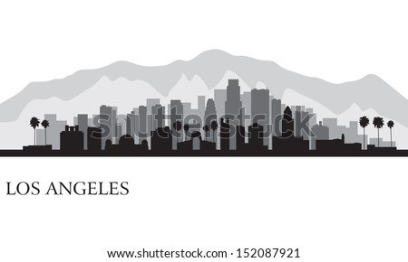 los angeles city skyline detailed silhouette vector illustration