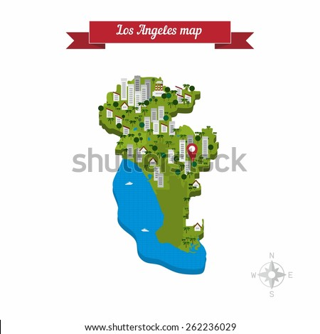 Los Angeles map. Flat style design - vector. - stock vector