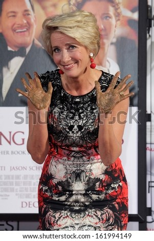 LOS ANGELES - NOV 7:  Emma Thompson at the Emma Thompson Hand and Footprint Ceremony at TCL Chinese Theater on November 7, 2013 in Los Angeles, CA	0