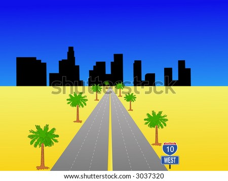 Los Angeles skyline and interstate 10 illustration - stock vector