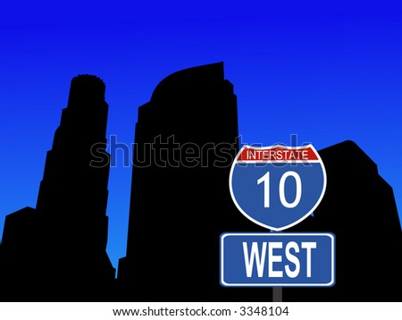 Los Angeles Skyline and interstate 20 sign illustration - stock vector