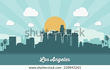 Los Angeles skyline - flat design - vector illustration - stock vector