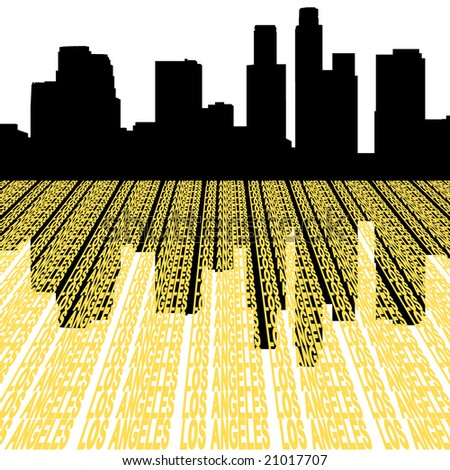Los Angeles skyline reflected with text illustration - stock vector