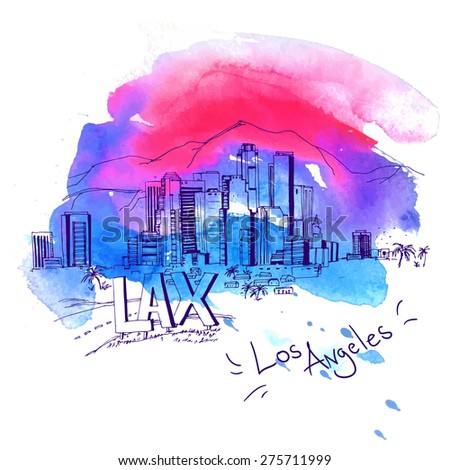 Los Angeles Skyline watercolor style with text illustration - stock vector