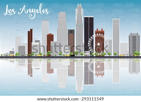 Los Angeles Skyline with Grey Buildings and Blue Sky. Vector Illustration. Business and tourism concept with skyscrapers. Image for presentation, banner, placard or web site - stock vector