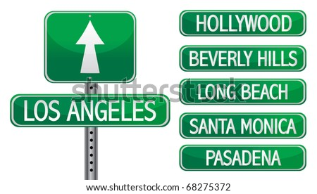 Los angeles street signs isolated over a white background - stock vector