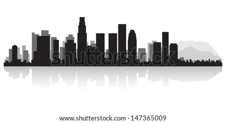 Los Angeles USA city skyline silhouette vector illustration - stock vector
