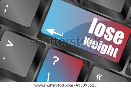 Lose weight on keyboard key button keyboard keys, keyboard button, keyboard icon - stock vector