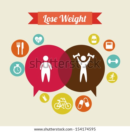lose weight over  beige background  vector illustration - stock vector