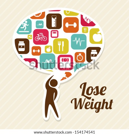 lose weight over pink background  vector illustration - stock vector