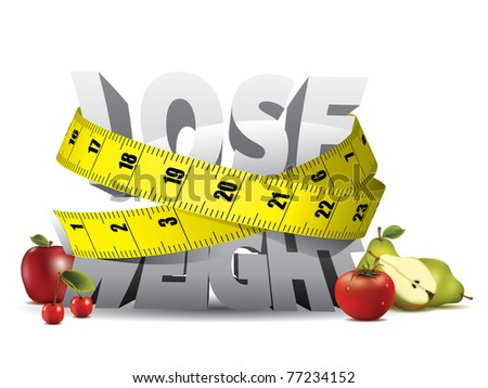 Lose weight text with measure tape and fruits - stock vector
