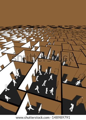 lost and confused people in endless cubical labyrinth - stock vector
