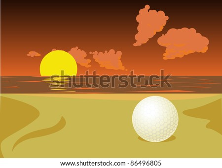lost golf ball on the sunset beach