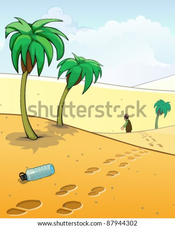 Lost in desert - stock vector