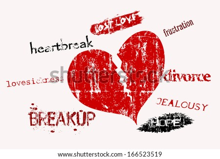 lost love and love sickness, super grungy, vector illustration - stock vector