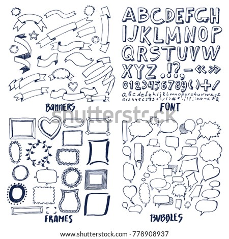 Patterns font banners frames bubbles vector stock vector 778908937 lot of patterns of font banners frames and bubbles vector illustration with hand drawn ribbons letters spiritdancerdesigns Image collections