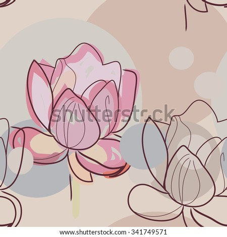 Lotos flower vector pattern. Soft and Childish  colors.