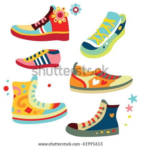 Lots of cute sneakers with bright colors. - stock vector
