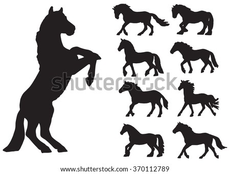 lots of different horses in the set of silhouettes on a white background