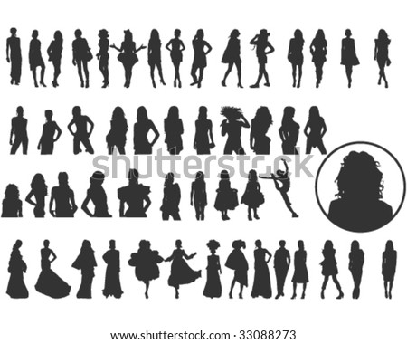 Lots of elegant women silhouettes
