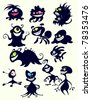Lots of funny fantastic monsters - stock vector