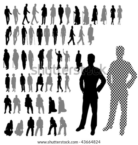 Lots of People Line Silhouette 2 Style Set - stock vector