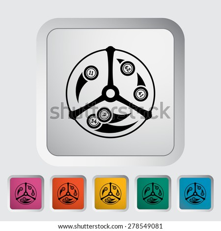 Lotteries. Single flat icon on the button. Vector illustration. - stock vector