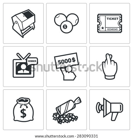 Lottery icons. Vector Illustration. - stock vector