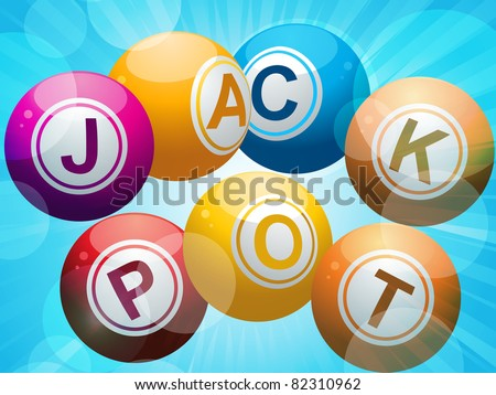 lottery or bing balls spelling the word 'jackpot' on a starburst blue background - stock vector
