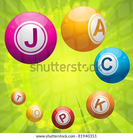 Lottery or bingo balls forming the word 'jackpot' - stock vector