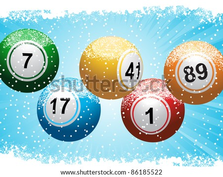 lottery or bingo balls on a snowy Christmas background