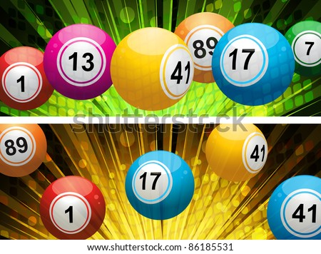 lottery or bingo balls on a snowy Christmas background - stock vector
