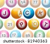 lottery or bingo balls spelling out the words 'jackpot' on a white background - stock photo