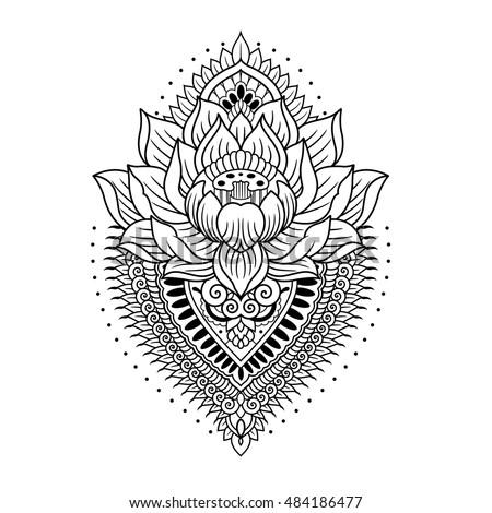 Lotus Mandala Outline Stock Vector 484186477 - Shutterstock