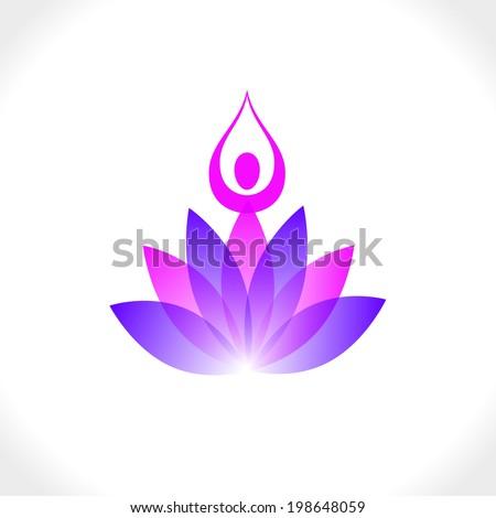 Lotus and yoga meditation. Vector sign - stock vector
