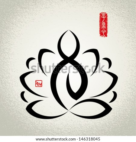Lotus and zen meditation.Seal of Chinese meaning:Just Normal Unbiased View. - stock vector