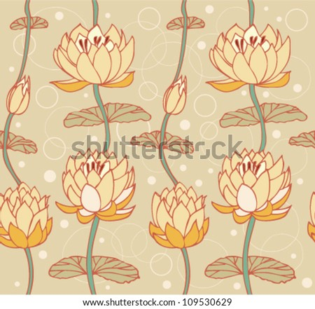 Lotus bright background. Floral pattern with water lilies. Seamless cute backdrop can be used for greeting cards, arts, wallpapers, web pages, surface texture, clothes, prints - stock vector