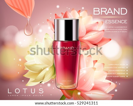 lotus essence concentrate product contained in a pink droplet bottle, with flower element and pink background in 3d illustration