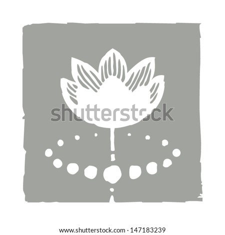 Lotus flower and water. Vector illustration. - stock vector