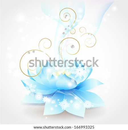 Lotus flower blue - stock vector