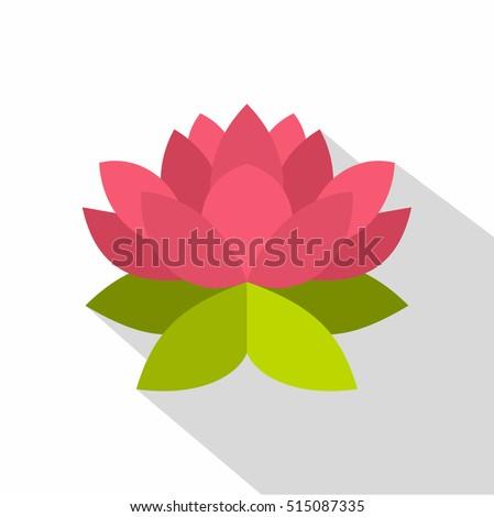 Lotus flower icon. Flat illustration of lotus flower vector icon for web design
