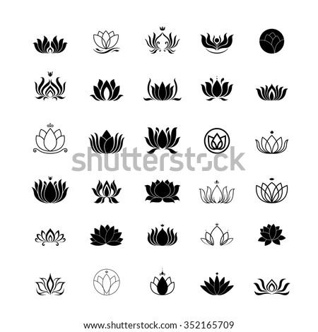 lotus flower logo - stock vector