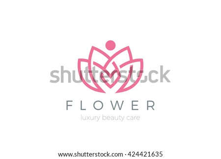 Lotus Flower Logo abstract Beauty Spa salon Cosmetics brand Linear style. Looped Leaves Logotype design vector Luxury Fashion template. - stock vector