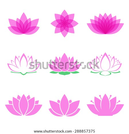 lotus flower set. lotus symbol or icon for spa salon, yoga class or wellness industry. isolated on white background. vector illustration - stock vector