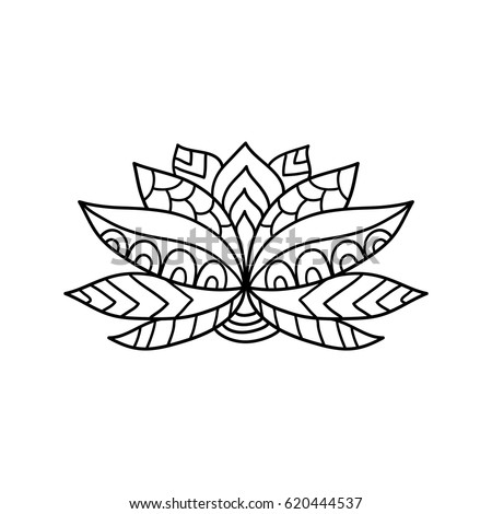 Lotus Flower Silhouette Water Lily Oriental Indian Chinese Style Zentangle Elements Design